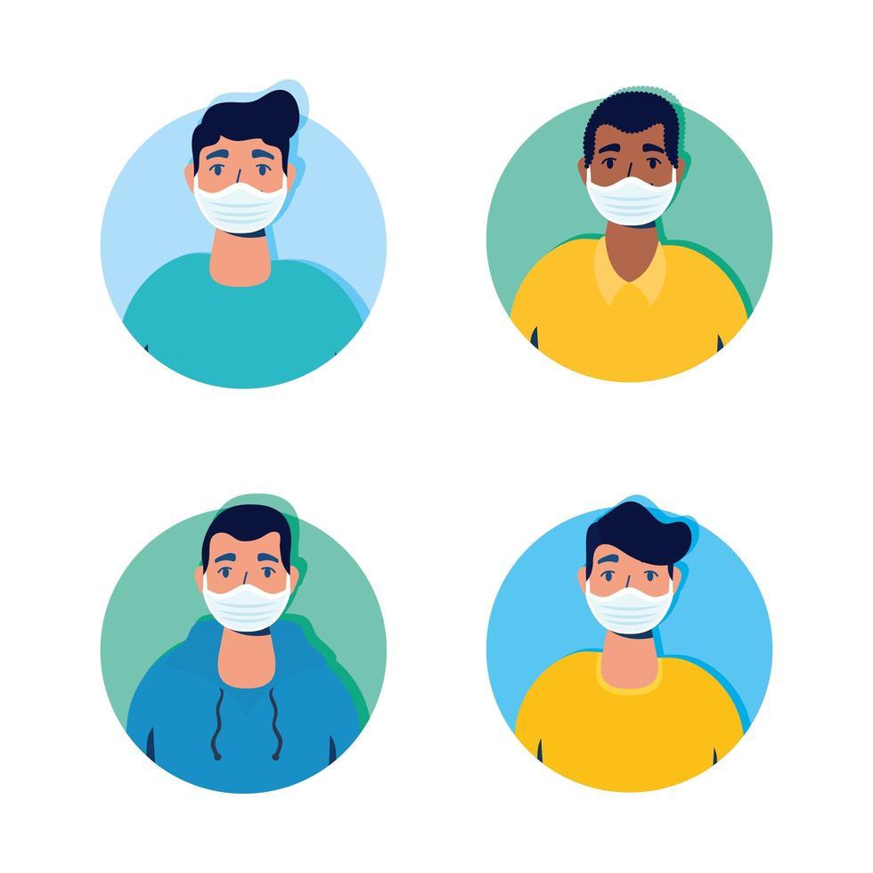 groupe d'hommes portant des personnages de masques faciaux vecteur