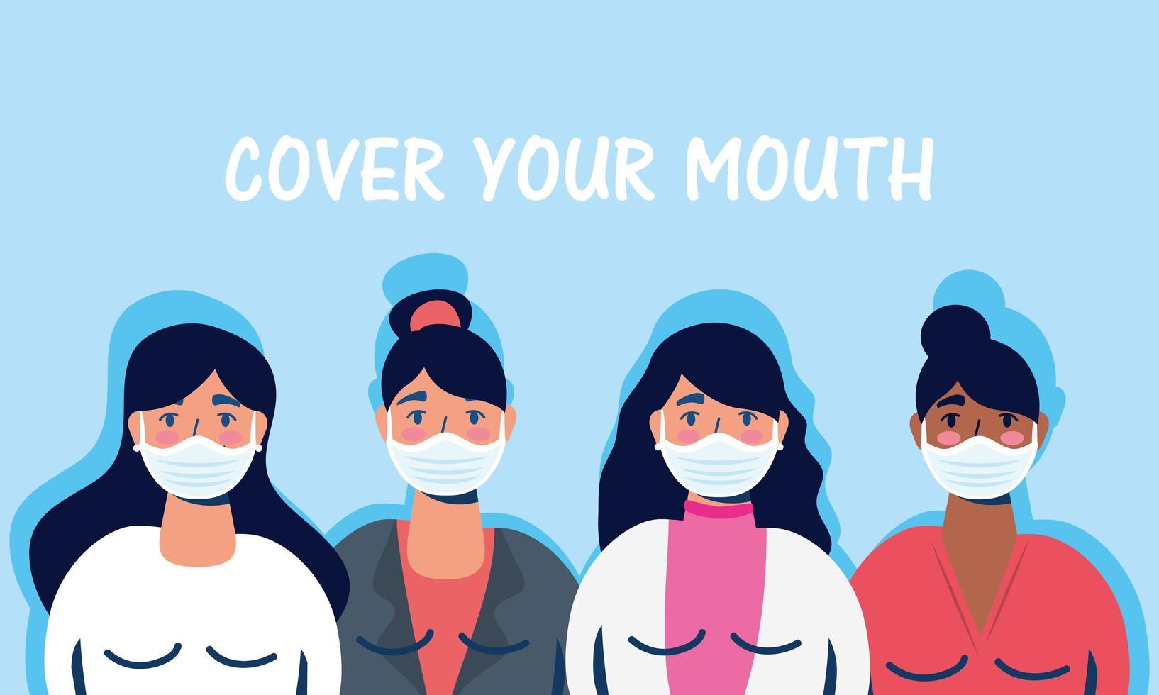femmes avec des masques faciaux et couvrir votre lettrage de bouche vecteur