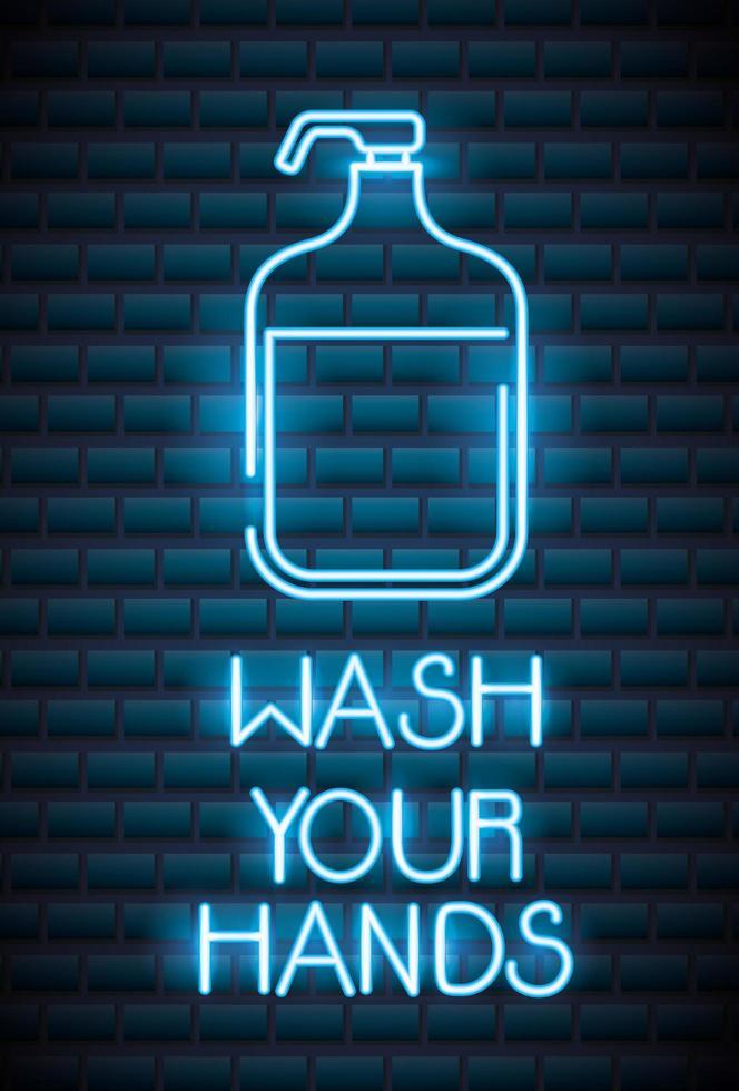 se laver les mains, enseigne au néon coronavirus vecteur