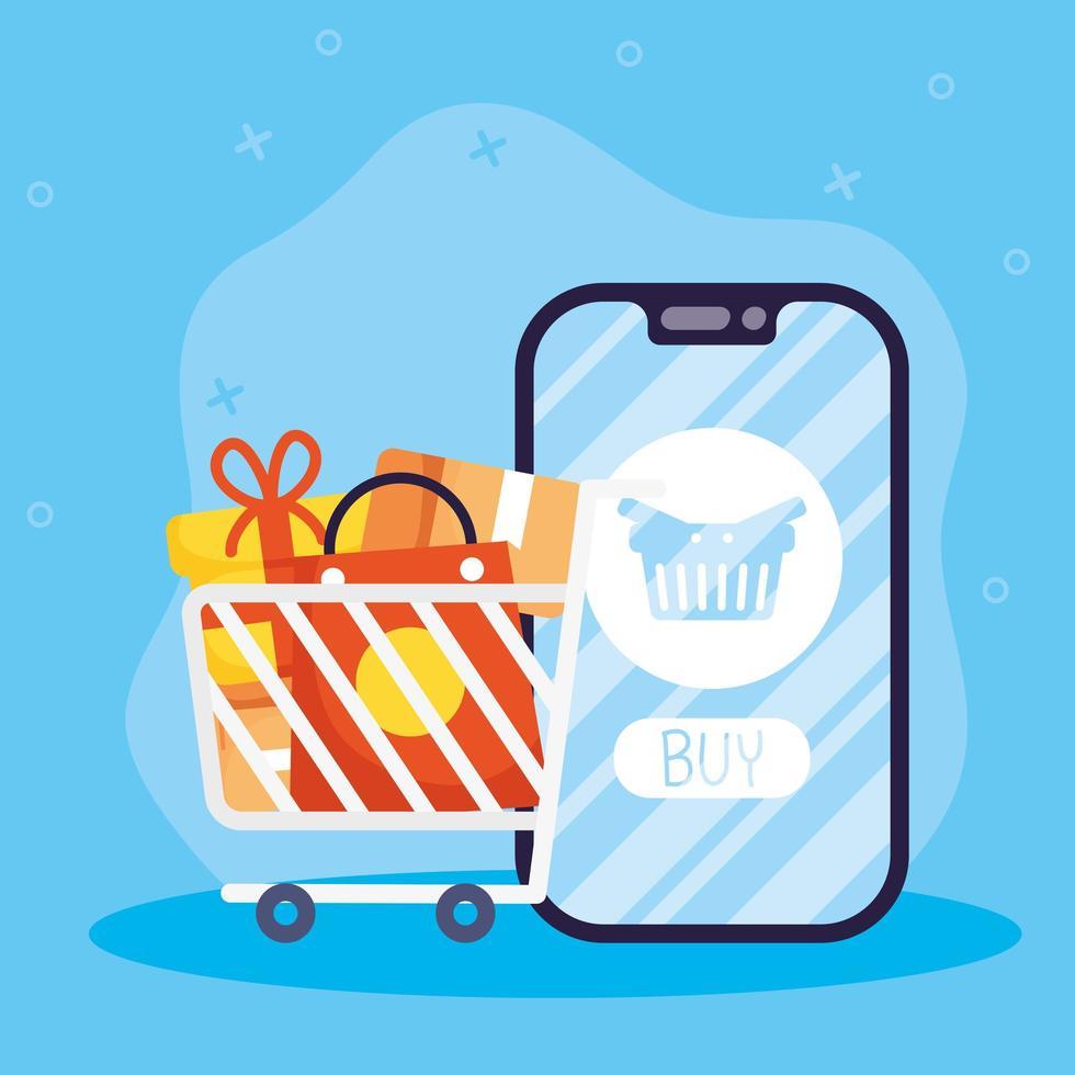 achats en ligne et e-commerce via smartphone vecteur