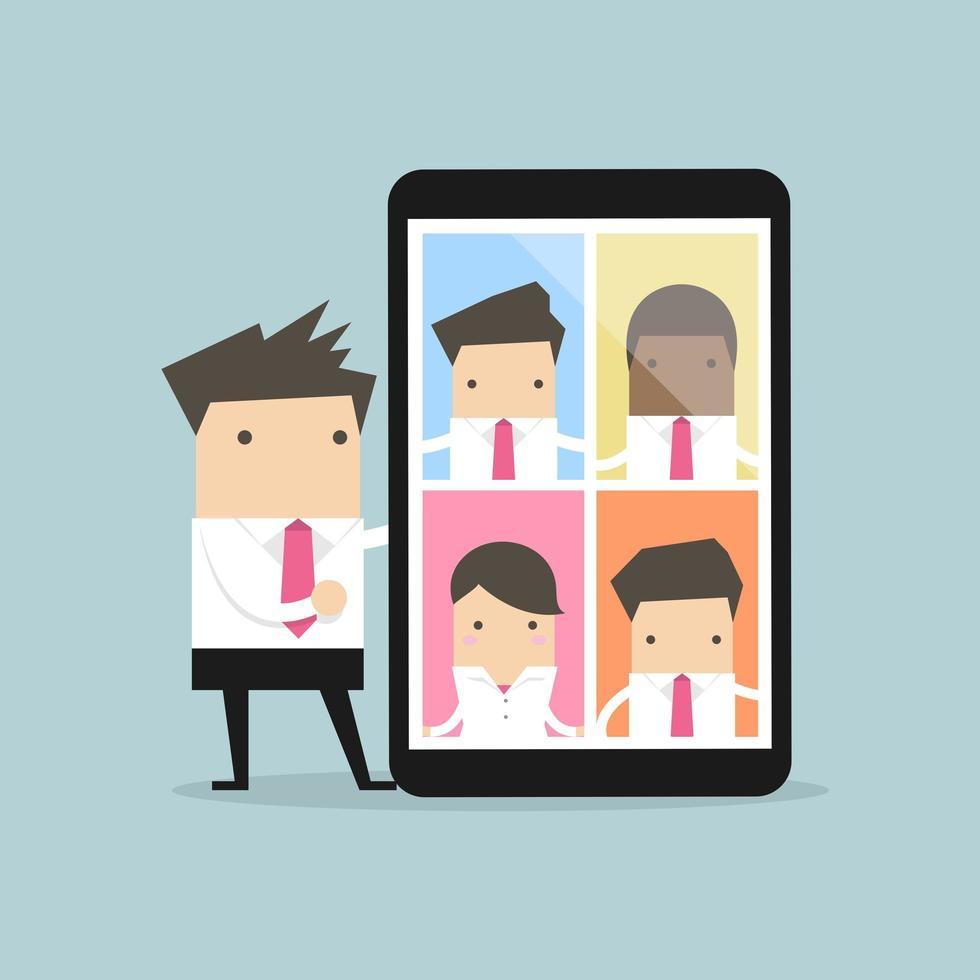 homme d & # 39; affaires avec vidéoconférence sur tablette vecteur