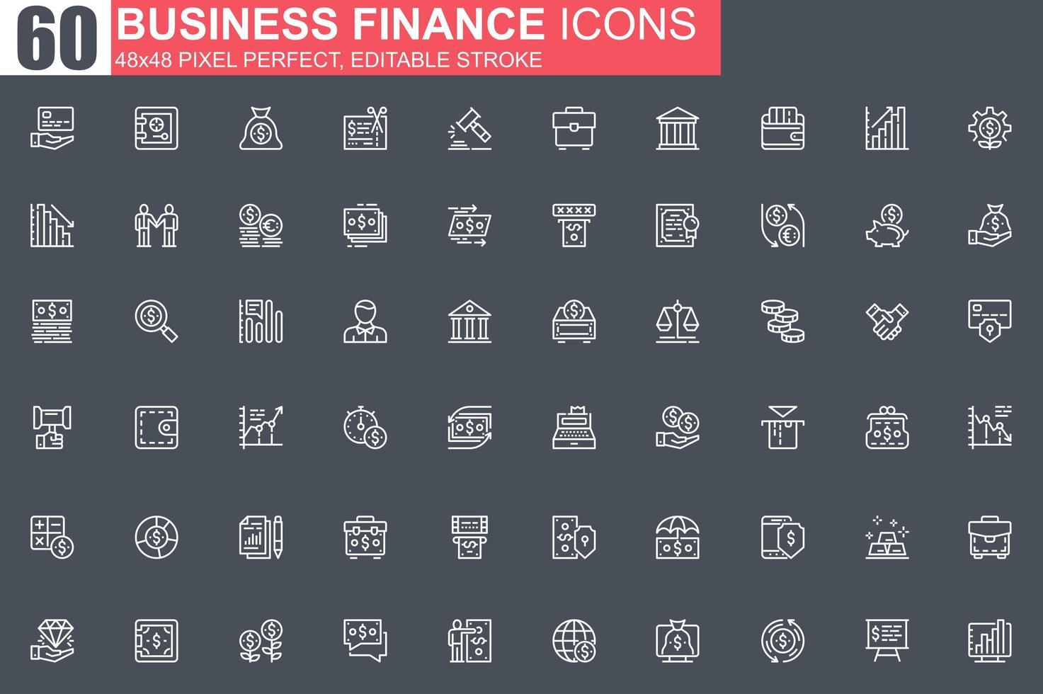 jeu d'icônes de fine ligne finance entreprise vecteur