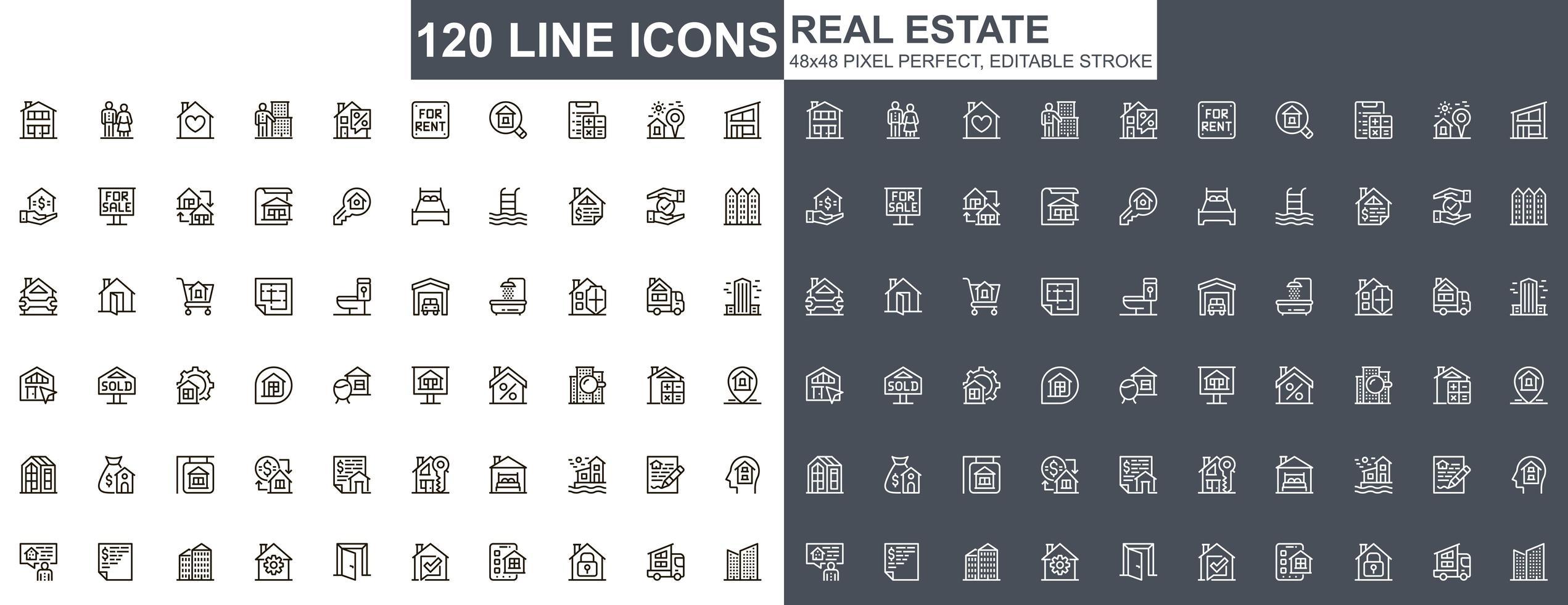ensemble d'icônes de ligne mince immobilier vecteur