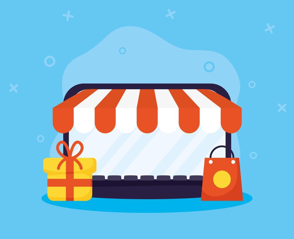 achats en ligne et e-commerce via un ordinateur portable vecteur