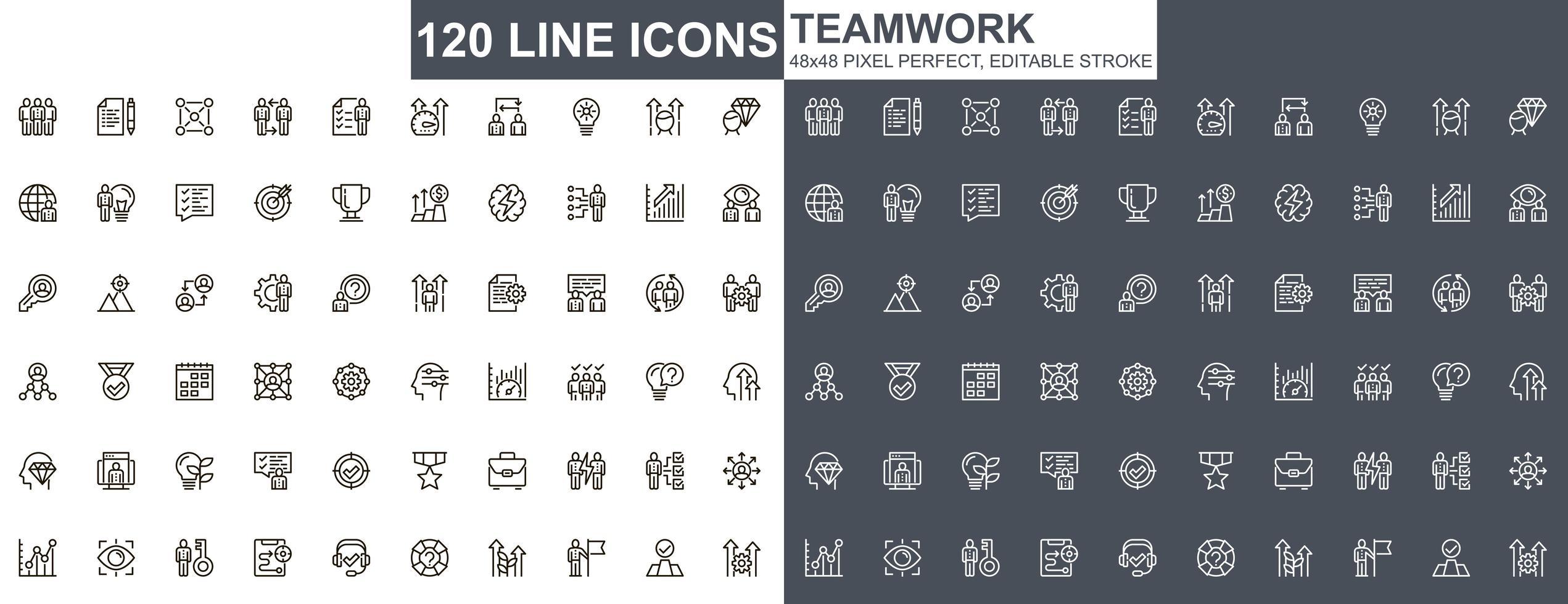jeu d'icônes de fine ligne de travail d'équipe vecteur