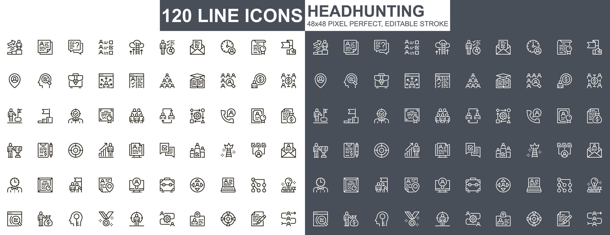 jeu d & # 39; icônes de fine ligne de chasse de tête vecteur