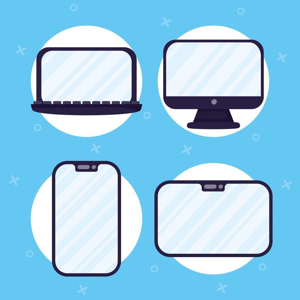 ensemble d'icônes d'appareils électroniques vecteur