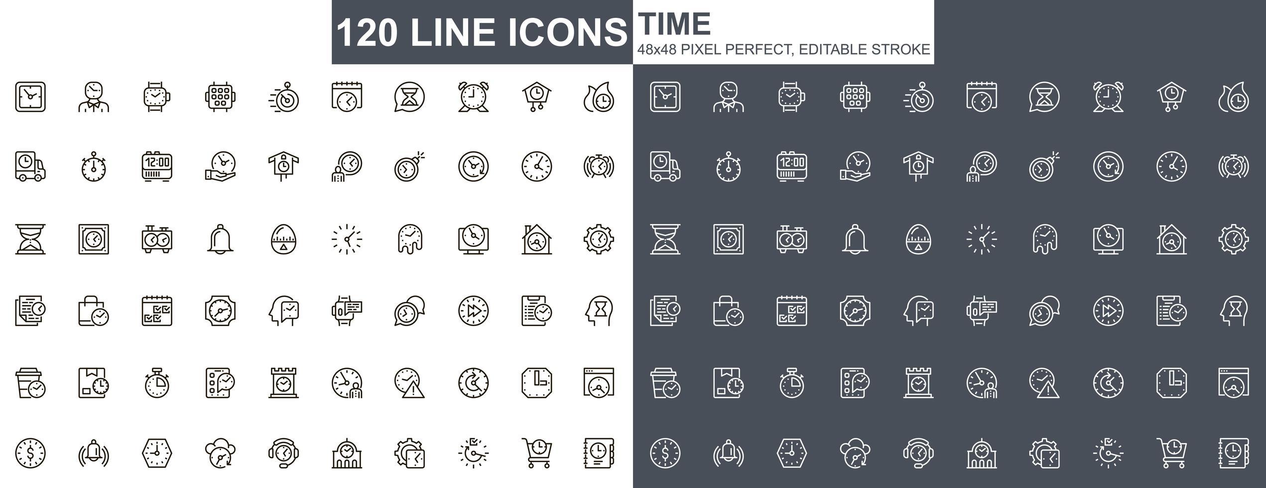 icônes de fine ligne de temps vecteur