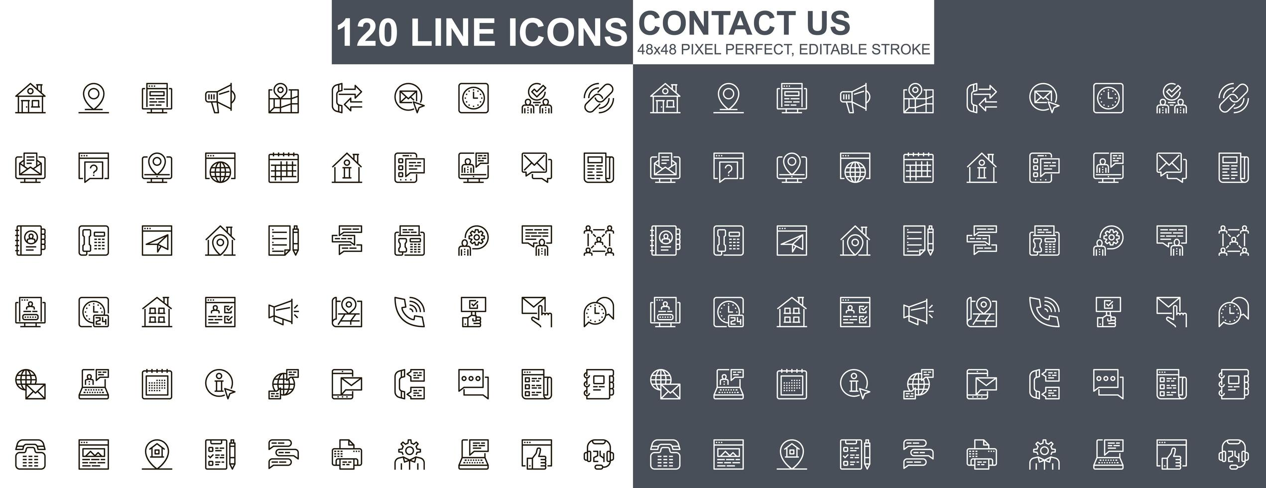 contactez-nous jeu d'icônes de fine ligne vecteur