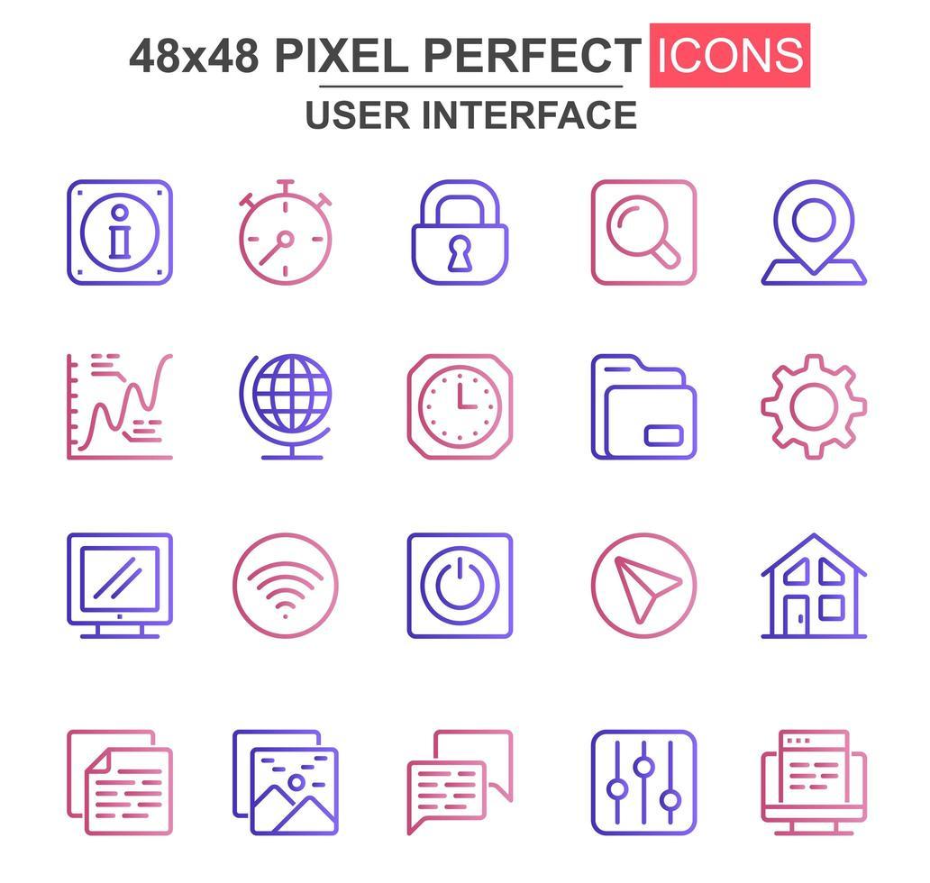 jeu d'icônes de fine ligne colorée interface utilisateur vecteur