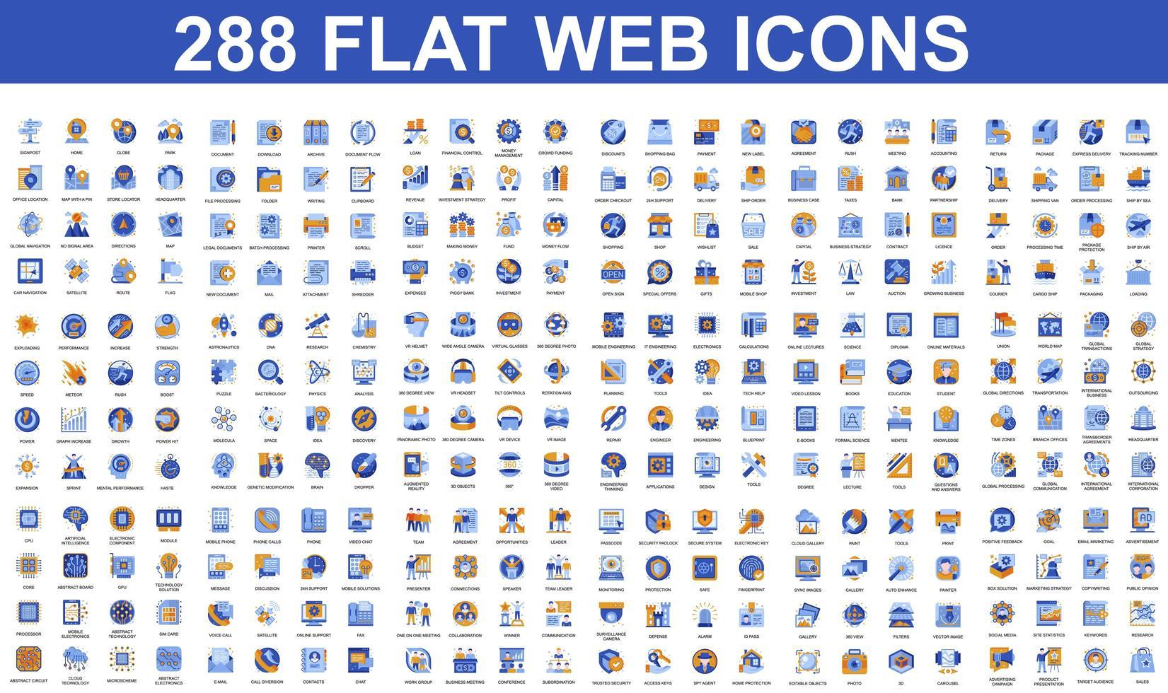ensemble d & # 39; icônes plates bleues et orange vecteur