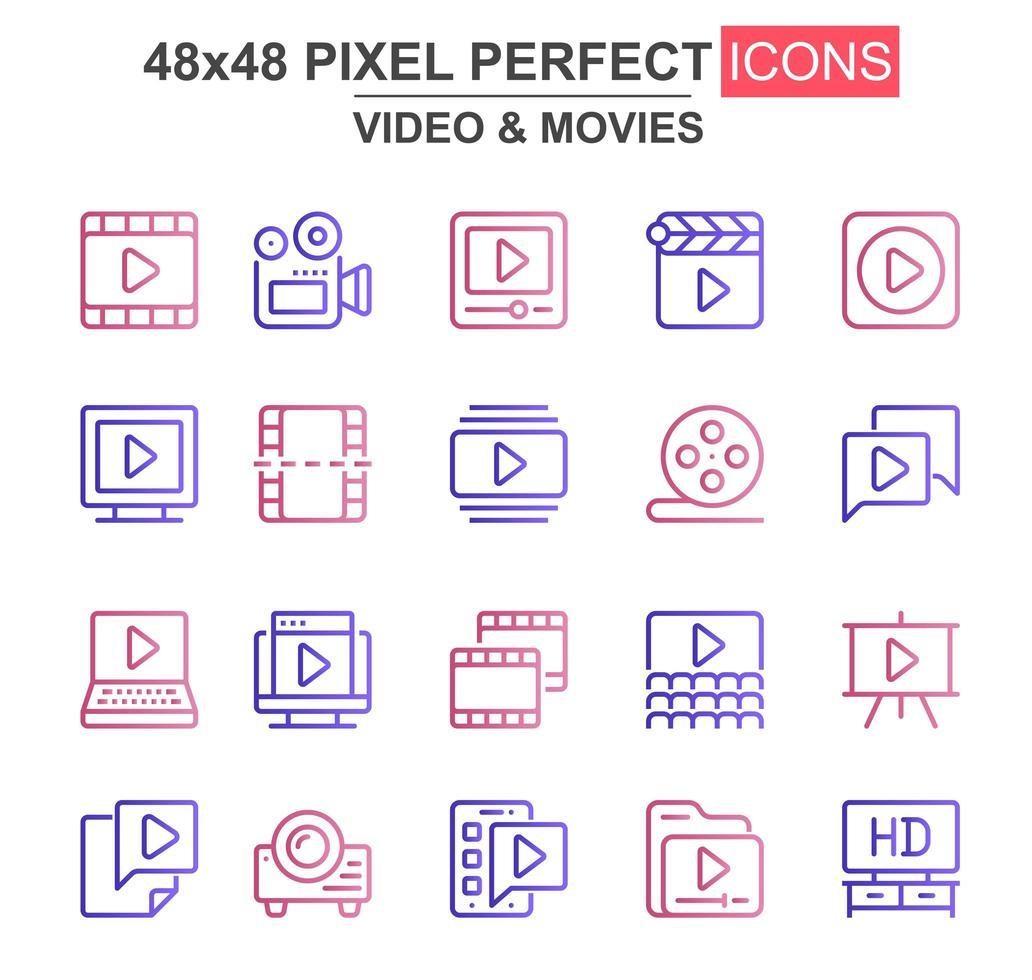 jeu d'icônes de fine ligne vidéo et films vecteur