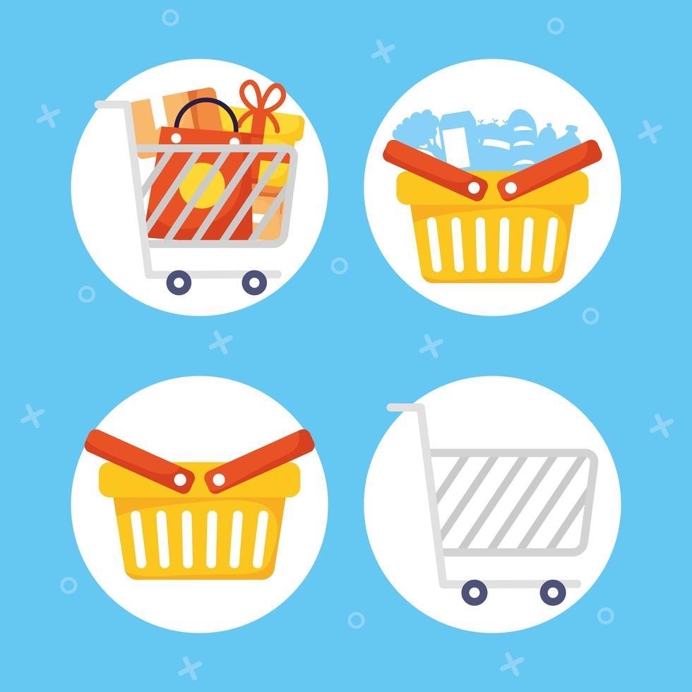 jeu d'icônes de shopping et de commerce vecteur