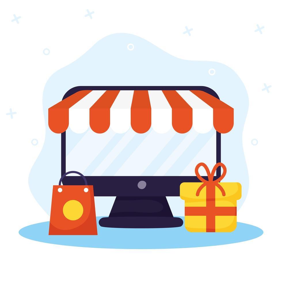 achats en ligne et e-commerce via ordinateur vecteur