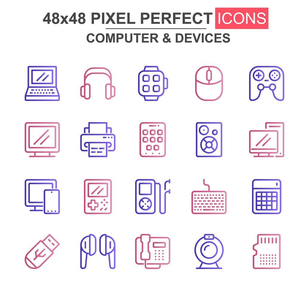 jeu d'icônes de fine ligne ordinateur et périphériques vecteur