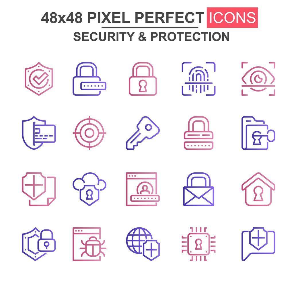 jeu d'icônes de ligne mince de sécurité et de protection vecteur