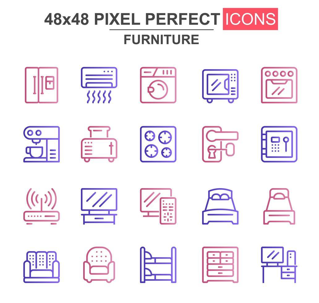 jeu d'icônes de meubles fine ligne vecteur