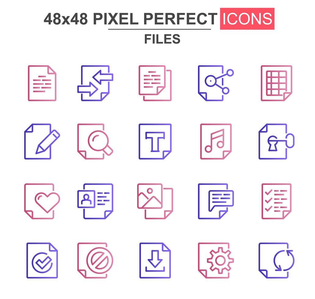 jeu d'icônes de fine ligne de fichiers vecteur