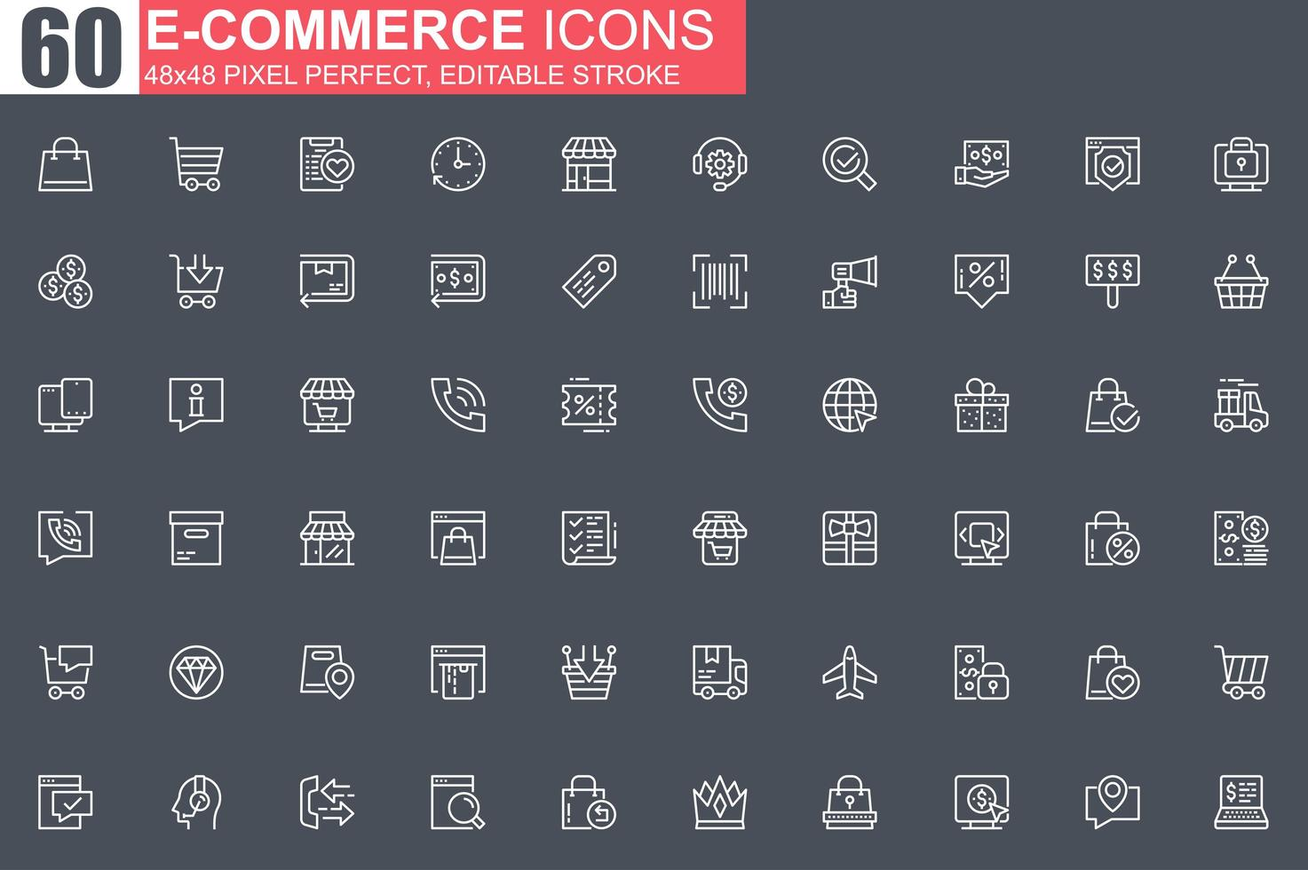 jeu d'icônes de fine ligne e-commerce vecteur
