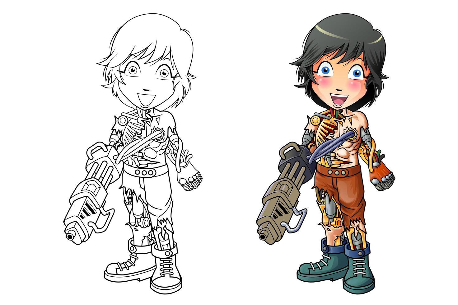 coloriage de dessin animé cyborg pour les enfants 32 ...