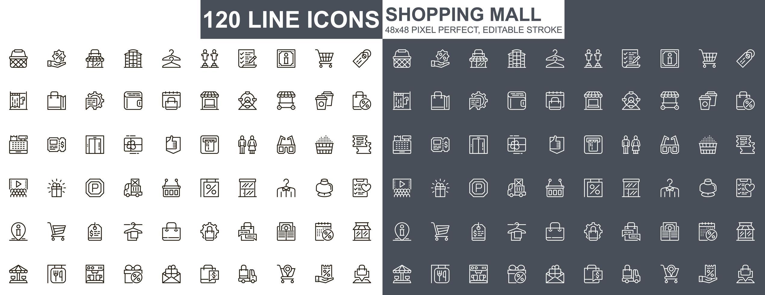 ensemble d & # 39; icônes de fine ligne de centre commercial vecteur