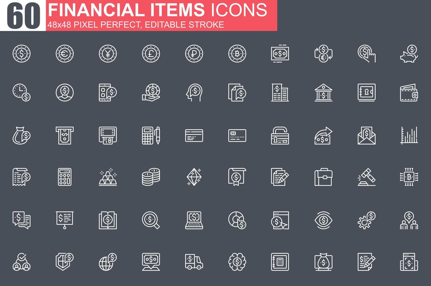 jeu d'icônes de fine ligne éléments financiers vecteur