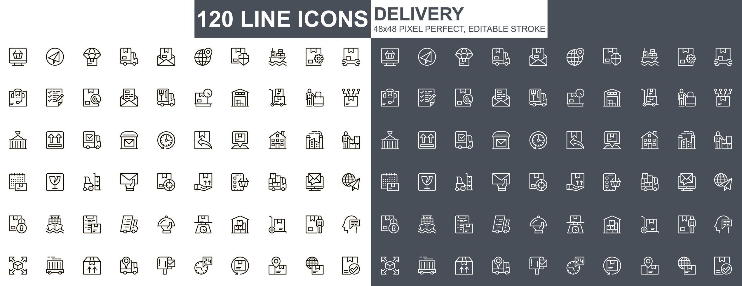 jeu d & # 39; icônes de livraison fine ligne vecteur