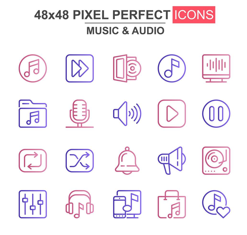 jeu d'icônes de fine ligne musique et audio vecteur