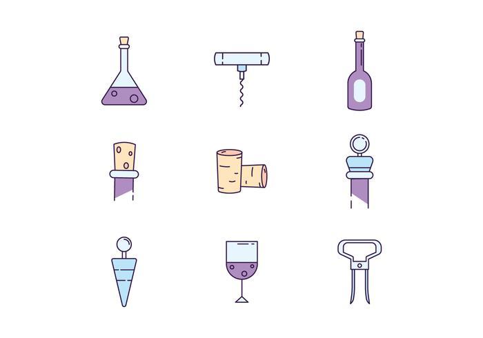 Icônes gratuites de bouteilles de vin vecteur