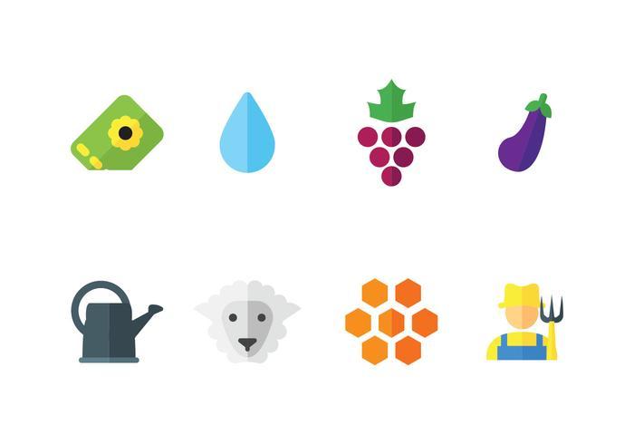 L'ensemble des icônes vectorielles agricoles vecteur