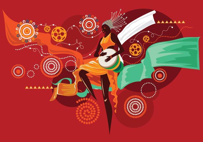 Femme exotique jouant Djembe ou musique africaine vecteur
