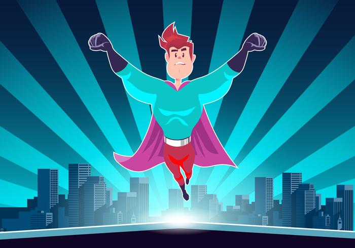 Super Hero In Action Vector