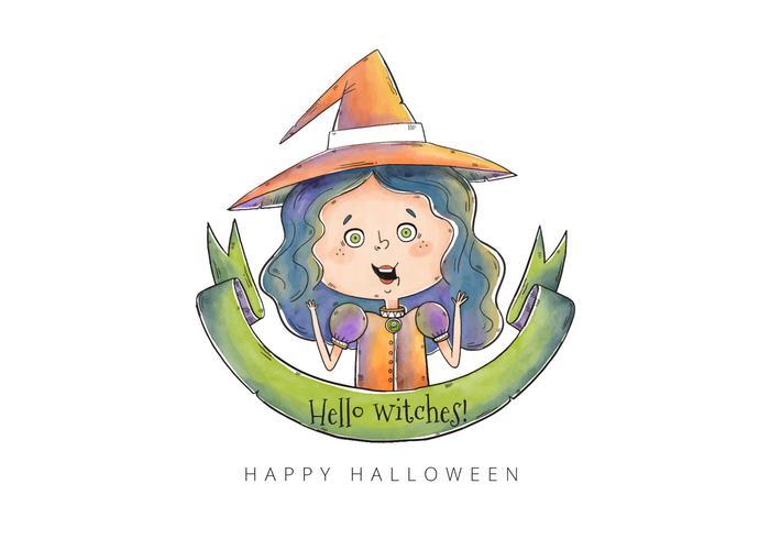 Cute Little Halloween Witch Vector