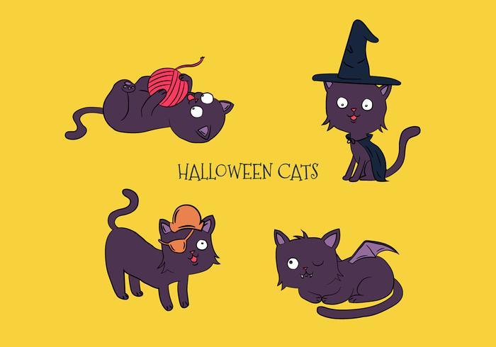 Collection de chats à main dessinée à main avec des costumes d'Halloween vecteur