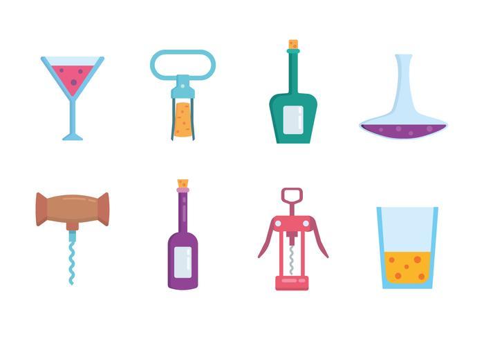 Bouteilles de vin, verres et l'ouvre-boue vecteur