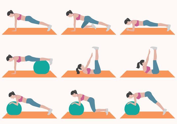 Femme faisant une collection d'exercices vecteur