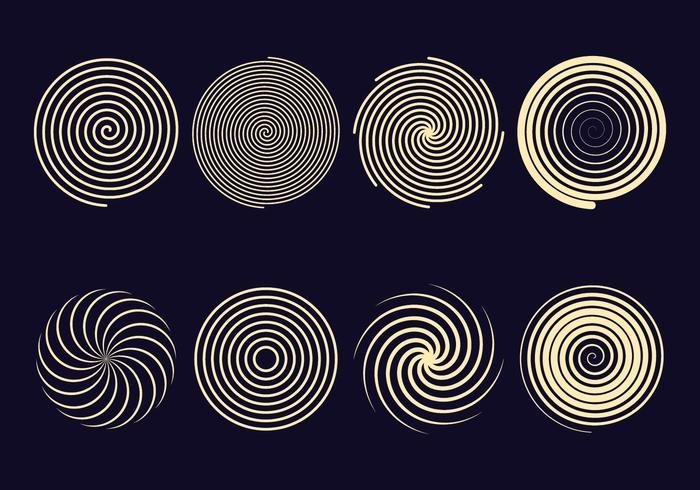 Icônes spirales d'hypnose vecteur
