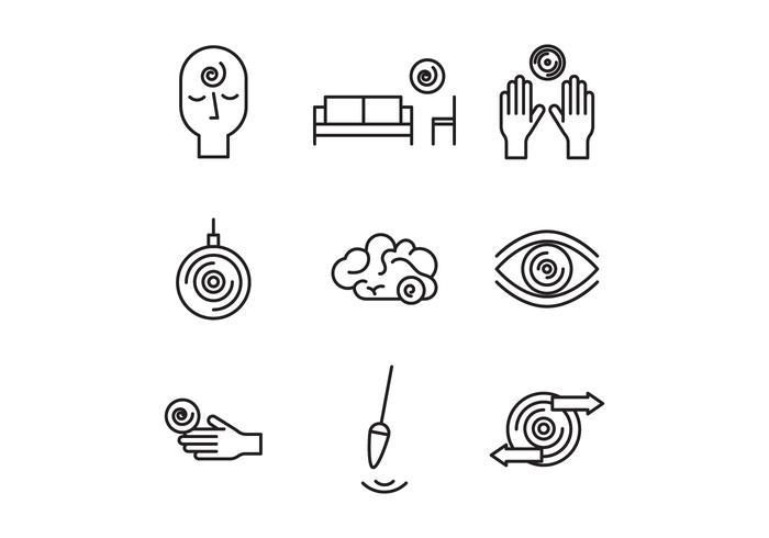 Icônes d'hypnose noir et blanc vecteur