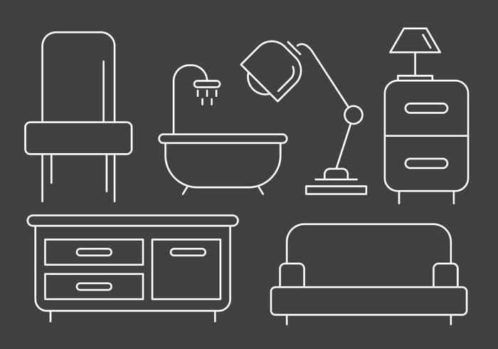 Icônes de meubles linéaires gratuits vecteur
