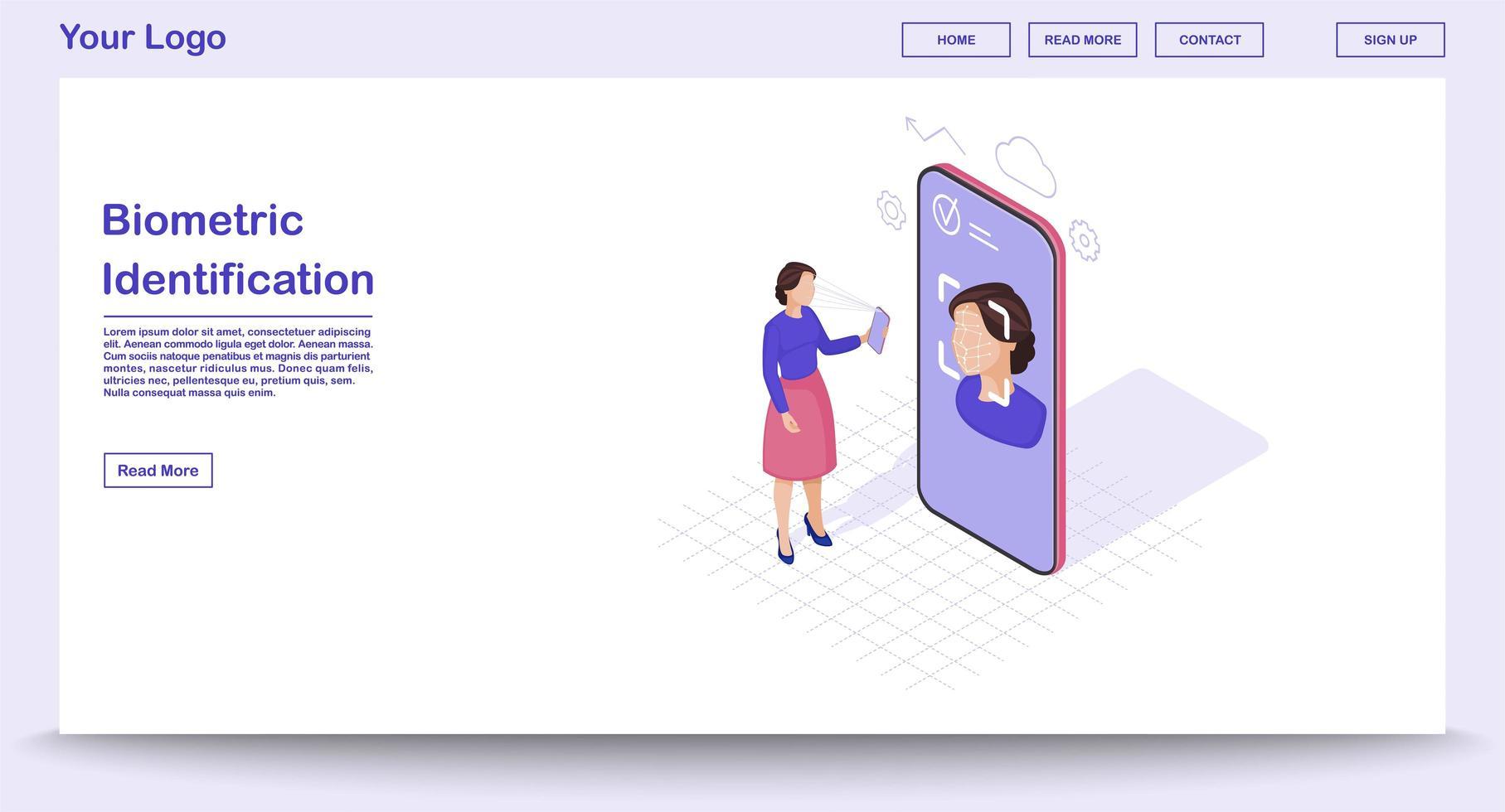 page Web d'identification biométrique vecteur