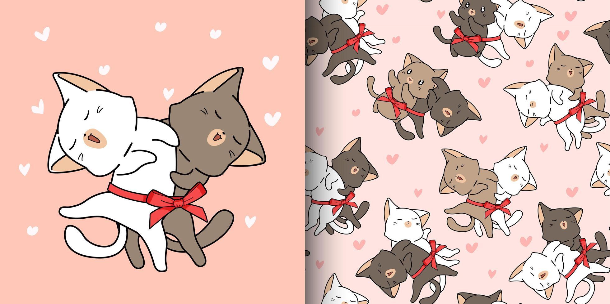 2 chats mignons aiment dans un modèle de style dessin animé vecteur
