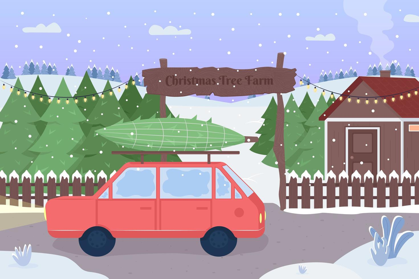 ferme d'arbres de Noël vecteur