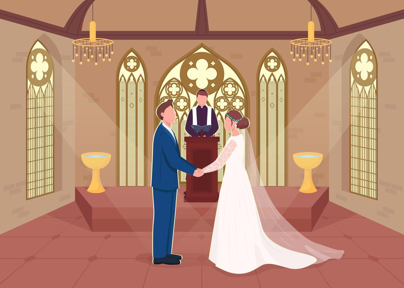 cérémonie de mariage religieux vecteur