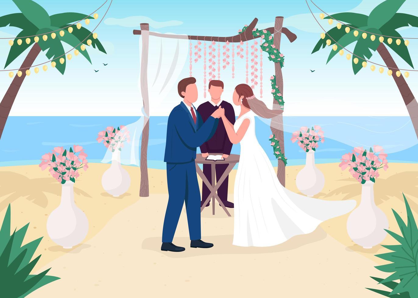 cérémonie de mariage tropical vecteur