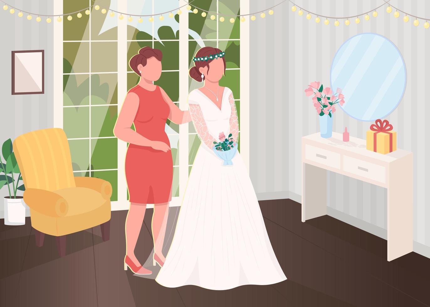 préparation de la mariée avec demoiselle d'honneur vecteur