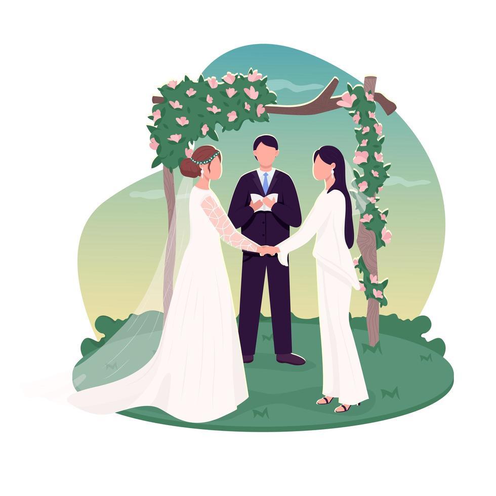 couple de lesbiennes se marier vecteur