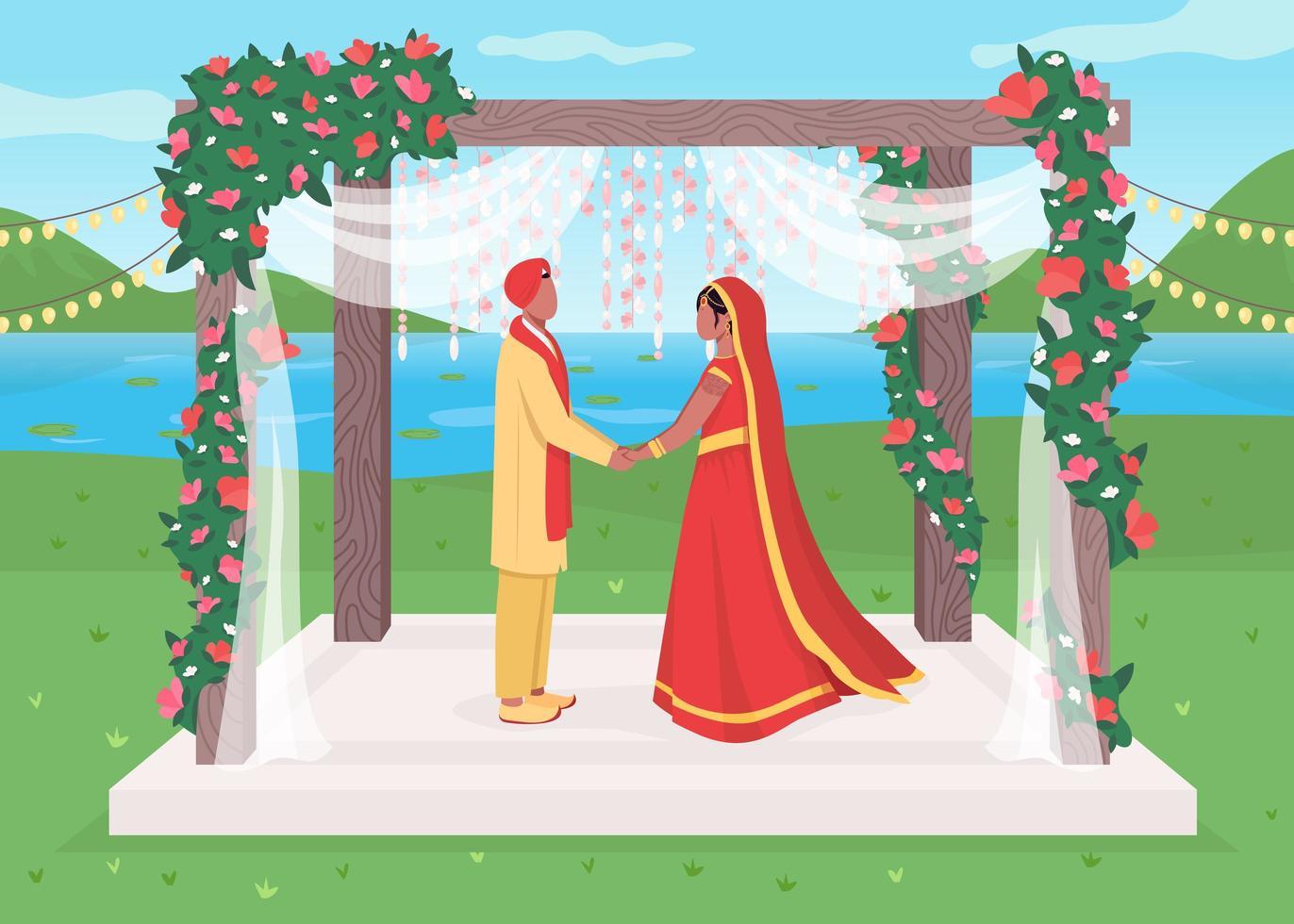cérémonie de mariage indien vecteur