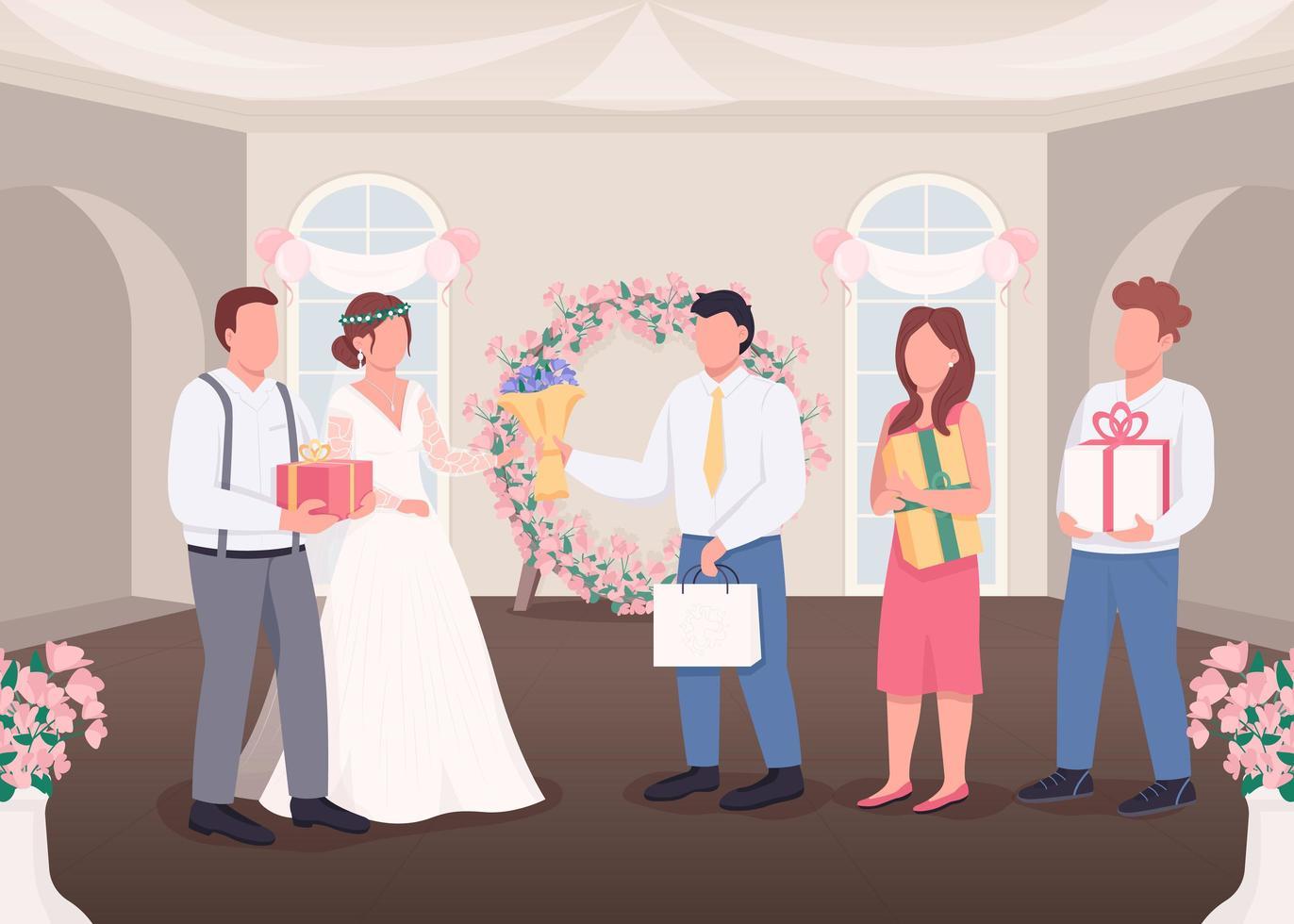 cadeaux pour la mariée et le marié vecteur