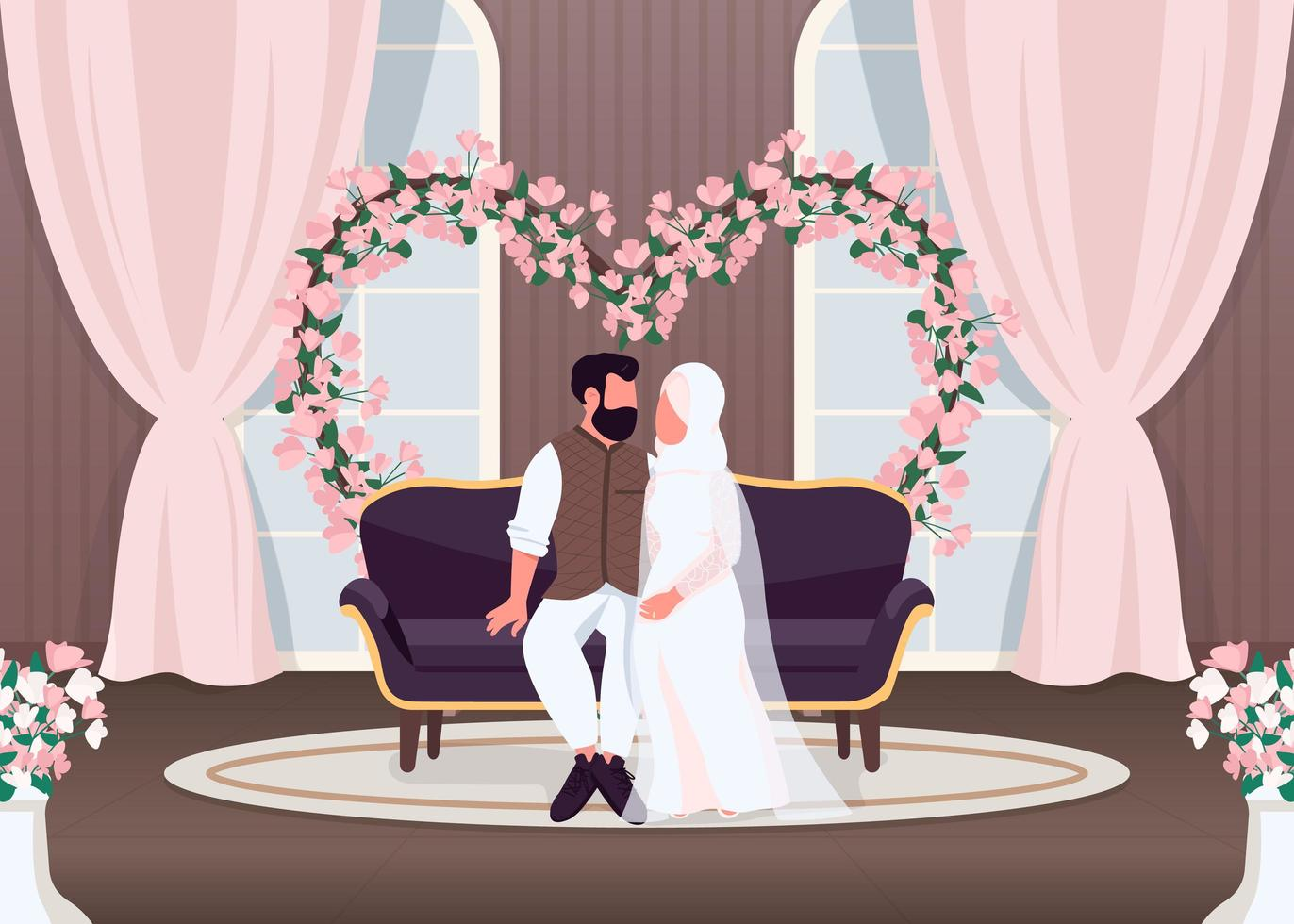 les jeunes mariés de l'islam sur le canapé vecteur