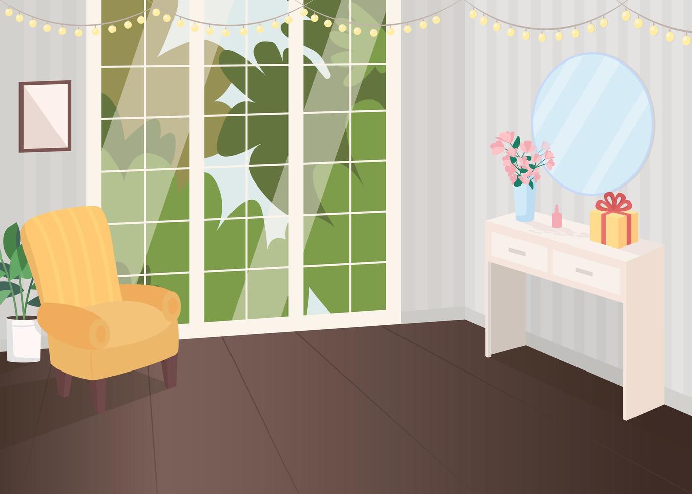 salle décorée de façon festive vecteur